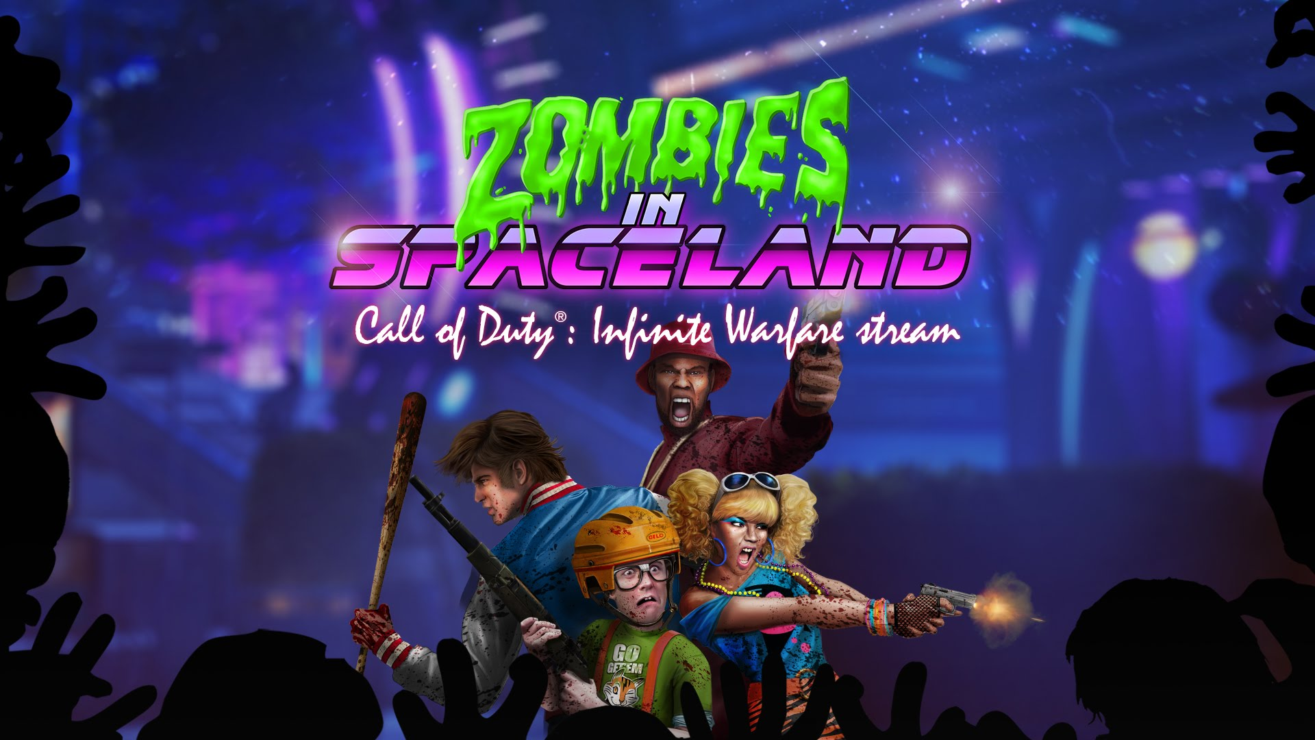 call of duty with zombies in spaceland – retro synthwave